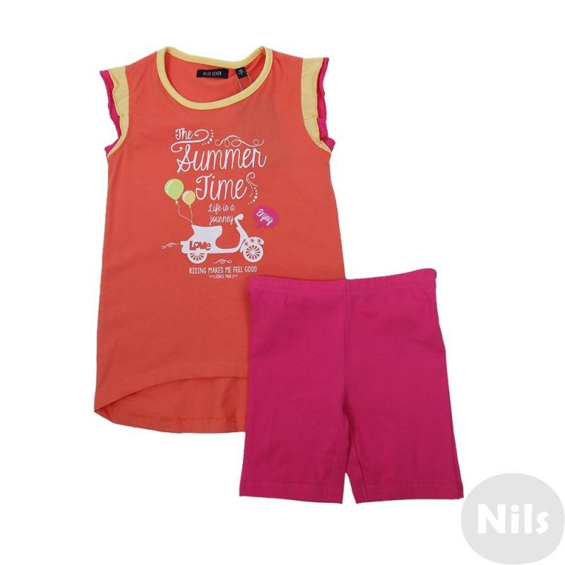 КомплектКомплект леггинсы + футболка оранжевого цвета марки Blue Seven для девочек. Яркий комплект выполнен из мягкого хлопкового трикотажа. Удлиненная футболка с рукавами-рюшами украшена летним принтом. Эластичные леггинсы малинового цвета имеют удобный пояс на резинке.<br><br>Размер: 8 лет<br>Цвет: Оранжевый<br>Рост: 128<br>Пол: Для девочки<br>Артикул: 612722<br>Бренд: Германия<br>Страна производитель: Бангладеш<br>Сезон: Весна/Лето<br>Состав верха: 100% Хлопок<br>Состав низа: 95% Хлопок, 5% Эластан
