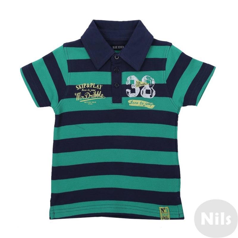 Рубашка-полоРубашка-поло зеленого цвета Blue Seven для мальчиков. Поло с коротким рукавом из хлопкового трикотажа в полоску застегивается на три пуговицы у ворота, украшено стильным принтом в спортивном стиле.<br><br>Размер: 6 месяцев<br>Цвет: Зеленый<br>Рост: 68<br>Пол: Для мальчика<br>Артикул: 613046<br>Бренд: Германия<br>Страна производитель: Бангладеш<br>Сезон: Весна/Лето<br>Состав: 100% Хлопок<br>Вид застежки: Пуговицы