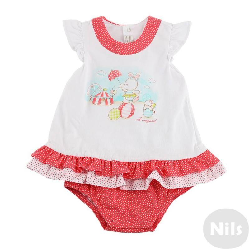 БодиБоди-платье красного цвета марки Mayoral для девочек. Боди выполнено из мягкого хлопкового трикотажа, сверху нашито короткое платье с рюшами (соединяется с боди на плечиках). Платье дополнено короткими рукавами-крылышками и очаровательным принтом с зайчиком, застегивается сзади и снизу на кнопки.<br><br>Размер: 0 месяцев<br>Цвет: Красный<br>Рост: 50<br>Пол: Для девочки<br>Артикул: 613943<br>Страна производитель: Китай<br>Сезон: Весна/Лето<br>Состав: 98% Хлопок, 2% Эластан<br>Бренд: Испания<br>Вид застежки: Кнопки