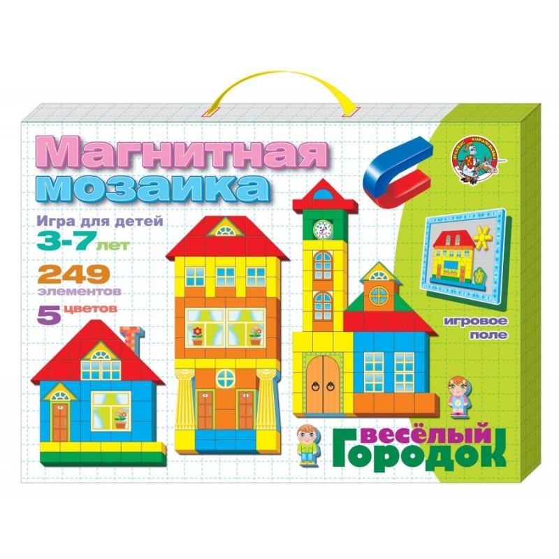 Десятое королевство Мозаика Веселый городок мозаика десятое королевство мозаика магнитная шестигранная 170 элементов