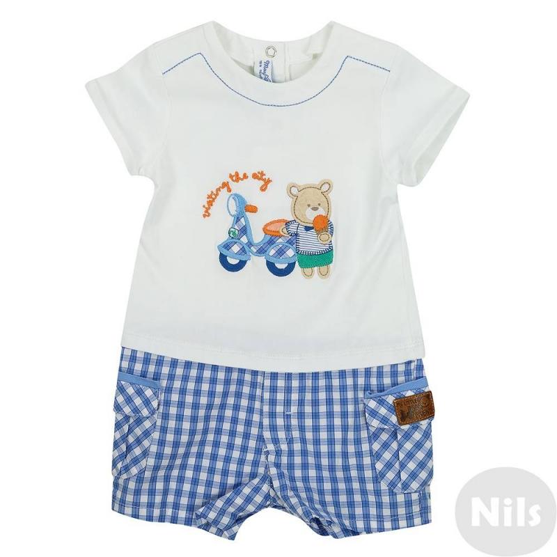 ПолукомбинезонПесочник голубого цвета марки Mayoral для мальчиков. Песочник, имитирующий футболку и шорты, выполнен из хлопка, имеет кнопочную застежку на спинке и по шаговому шву. Трикотажный верх украшен аппликацией с медвежонком, низ в голубую клетку дополнен накладными карманами.<br><br>Размер: 9 месяцев<br>Цвет: Голубой<br>Рост: 74<br>Пол: Для мальчика<br>Артикул: 613462<br>Бренд: Испания<br>Страна производитель: Китай<br>Сезон: Весна/Лето<br>Состав: 97% Хлопок, 3% Эластан<br>Вид застежки: Кнопки