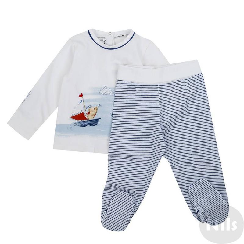 КомплектКомплект футболка с длинным рукавом + ползунки синегоцвета марки Mayoral для мальчиков. Комплект выполнен из мягкого хлопкового трикотажа. Футболка украшена принтом с аппликацией на тему море, а также декоративными заплатками на локтях, застегивается на кнопки сзади по всей длине. Ползунки в полосочку имеют широкий эластичный пояс с отворотом.<br><br>Размер: 6 месяцев<br>Цвет: Синий<br>Рост: 68<br>Пол: Для мальчика<br>Артикул: 613782<br>Страна производитель: Китай<br>Сезон: Весна/Лето<br>Состав верха: 95% Хлопок, 5% Эластан<br>Состав низа: 95% Хлопок, 5% Эластан<br>Бренд: Испания<br>Вид застежки: Кнопки