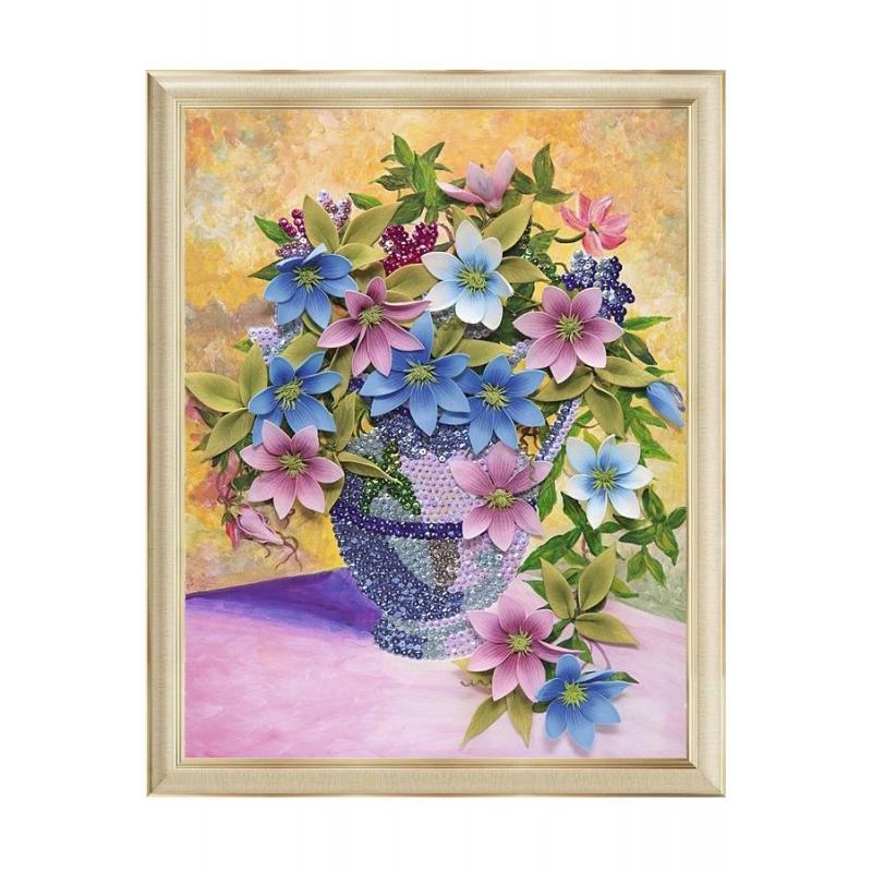 Волшебная мастерская Мозаика Клематисы (на холсте) наборы для творчества волшебная мастерская мозаика из пайеток лилии
