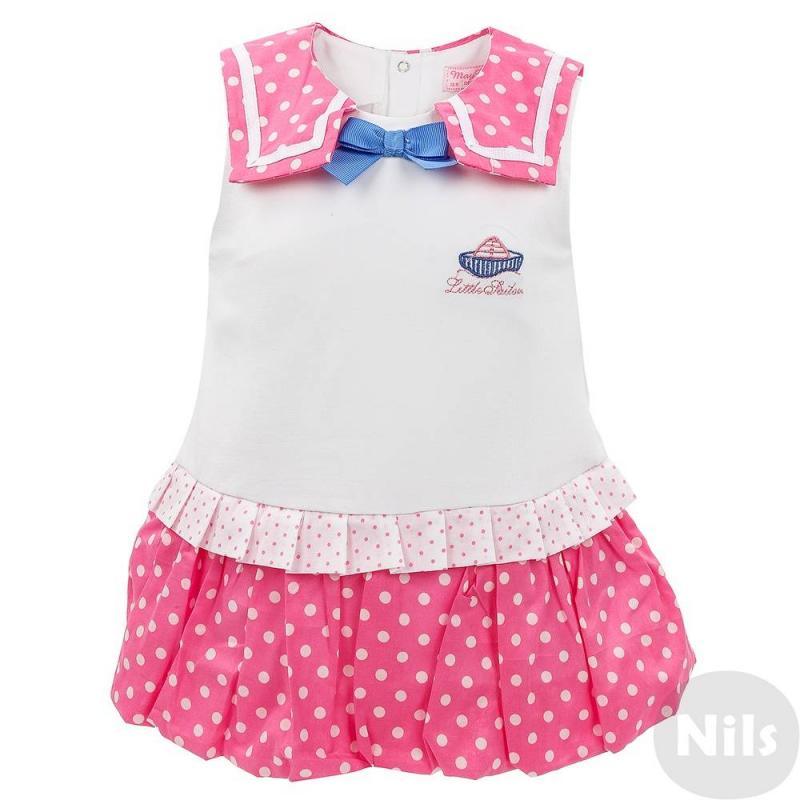 БодиБоди розового цвета марки Mayoral для девочек. Боди-платье выполнено из хлопкового трикотажа, юбка и воротничок из розовой ткани в горошек. Боди украшено бантом и вышивкой на груди, застегивается на кнопки снизу и на спинке.<br><br>Размер: 9 месяцев<br>Цвет: Розовый<br>Рост: 74<br>Пол: Для девочки<br>Артикул: 613469<br>Страна производитель: Китай<br>Сезон: Весна/Лето<br>Состав: 96% Хлопок, 4% Эластан<br>Бренд: Испания<br>Вид застежки: Кнопки