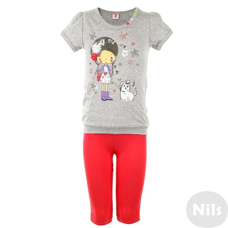 КомплектКомплект из футболки и леггинсов малинового цвета марки CrocKid для девочек. Комплект выполнен из хлопкового трикотажа. Удлиненная футболка серого цвета украшена принтом с пайетками и цветными кнопками. Эластичные леггинсы дополнены удобным поясом на резинке.<br><br>Размер: 3 года<br>Цвет: Малиновый<br>Рост: 98<br>Пол: Для девочки<br>Артикул: 614230<br>Страна производитель: Узбекистан<br>Сезон: Весна/Лето<br>Состав верха: 100% Хлопок<br>Состав низа: 95% Хлопок, 5% Лайкра<br>Бренд: Россия