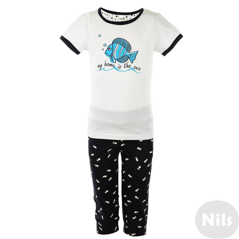 КомплектКомплект футболка + бриджи марки CrocKid для девочек выполнен из чистого хлопка. Белая футболка с контрастной отделкой украшена изображением рыбки. Темно-синие бриджи с мелким принтом с рыбками имеют удобный пояс на резинке.<br><br>Размер: 6 лет<br>Цвет: Темносиний<br>Рост: 116<br>Пол: Для девочки<br>Артикул: 614214<br>Страна производитель: Россия<br>Сезон: Весна/Лето<br>Состав верха: 100% Хлопок<br>Состав низа: 100% Хлопок<br>Бренд: Россия