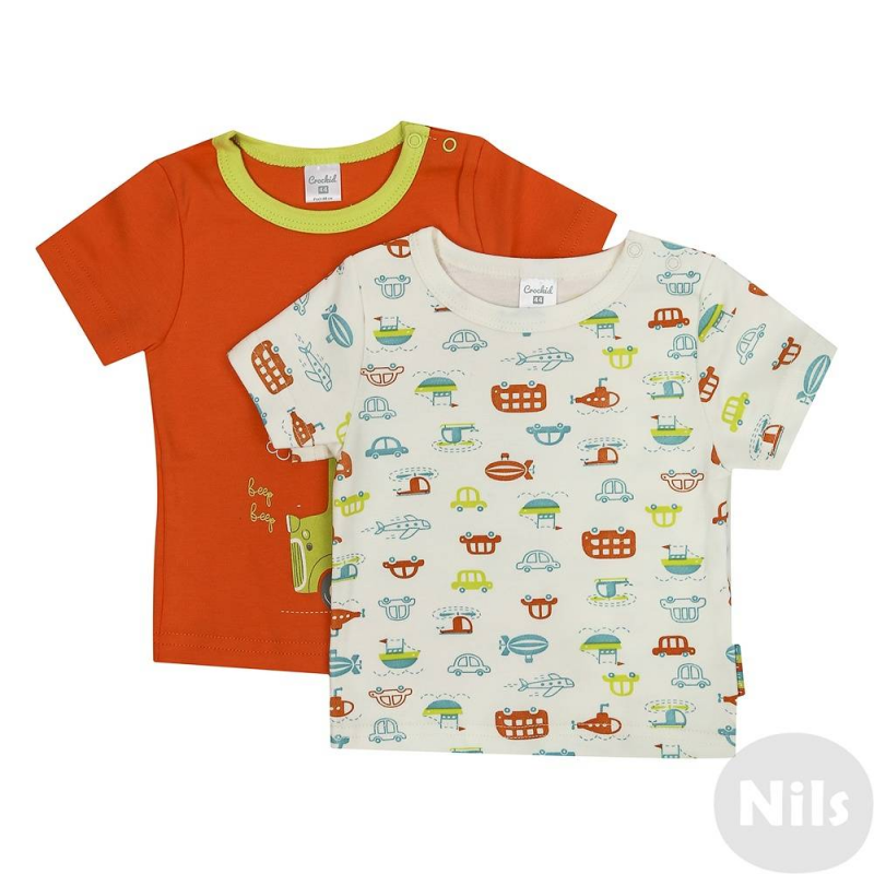 Комплект футболок 2 шт.Комплект из двух футболок марки CrocKid для мальчиков. Футболки с коротким рукавом выполнены из мягкого хлопкового трикотажа, имеют удобную кнопочную застежку на плече. Футболки украшены яркими принтами с машинками и зверями.<br><br>Размер: 3 месяца<br>Цвет: Оранжевый<br>Рост: 62<br>Пол: Для мальчика<br>Артикул: 614271<br>Страна производитель: Узбекистан<br>Сезон: Всесезонный<br>Состав: 100% Хлопок<br>Бренд: Россия<br>Вид застежки: Кнопки