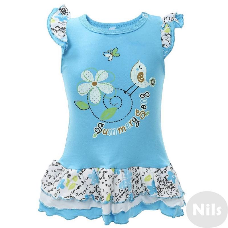 ПлатьеПлатье голубого цвета марки Soni Kids для девочек. Платье выполнено из хлопкового трикотажа кулир, украшено ярким летним принтом. Рукава-крылышки и юбка отделаны рюшами. Платье застегивается на кнопку на плече.<br><br>Размер: 12 месяцев<br>Цвет: Голубой<br>Рост: 80<br>Пол: Для девочки<br>Артикул: 614905<br>Страна производитель: Россия<br>Сезон: Весна/Лето<br>Ткань: Кулир<br>Состав: 100% Хлопок<br>Бренд: Россия<br>Вид застежки: Кнопки