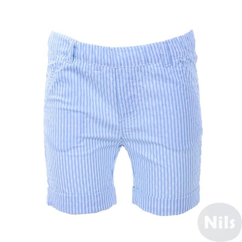 ШортыШорты в голубую полоску марки Minibanda для малышей. Летниешорты с отворотами выполнены из хлопка, имеют два кармана спереди и два задних кармана, а также удобный эластичный пояс на резинке.<br><br>Размер: 12 месяцев<br>Цвет: Голубой<br>Рост: 80<br>Пол: Для мальчика<br>Артикул: 613229<br>Страна производитель: Тунис<br>Сезон: Весна/Лето<br>Состав: 99% Хлопок, 1% Эластан<br>Бренд: Италия
