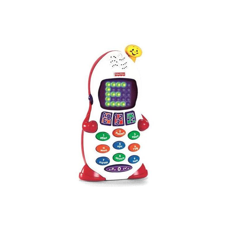 Обучающий телефон Смейся и учисьОбучающий телефон из серии Смейся и учись от Fisher Price (Mattel) - замечательная интерактивная и развивающая игрушка, которая в игровой форме поможет малышу выучить буквы и цифры, а также порадует весёлыми мелодиями. Телефон выполнен в форме забавного человечка, имеет кнопки с буквами и цифрами, а также светящийся экран. Телефон можно держать в руках или поставить.<br>Три режима игры выбираются с помощью соответствующих кнопок и позволяют изучать цифры или буквы, а также слушать музыку. Во время изучения букв и цифр они появляются на экране, названия четко произносятся, а малыш должен их запомнить и повторить за телефоном. В режиме игры малыш может прослушать 12 забавных мелодий, а также 6 фраз, характерных для телефонного разговора. При нажатии на 0 звучат все буквы, цифры или фразы с музыкальным сопровождением.<br>Игрушка способствует раннему развитию ребенка, помогает запоминать названия и изображения букв и цифр.Сюжетно-ролевые игры с реалистичным телефоном позволяют практиковаться в телефонном разговоре и развивать навыки общения.<br><br>Возраст от: 6 месяцев<br>Пол: Не указан<br>Артикул: 615077<br>Бренд: США<br>Размер: от 6 месяцев