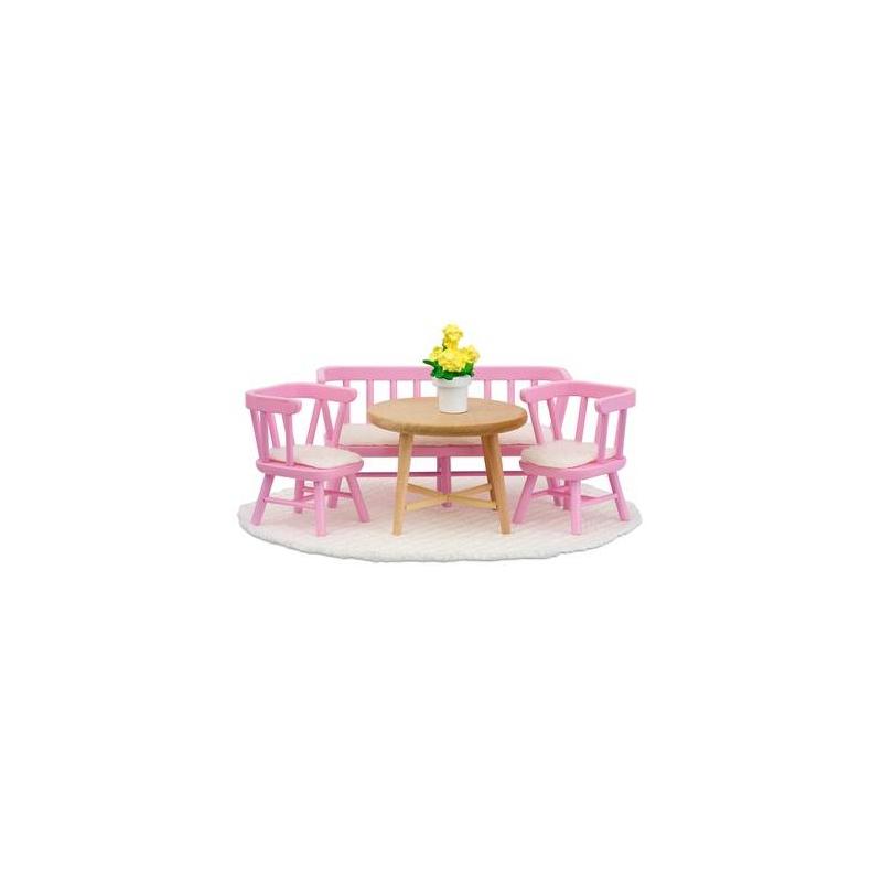 Lundby Набор кукольной мебели Смоланд Обеденный уголок розовый