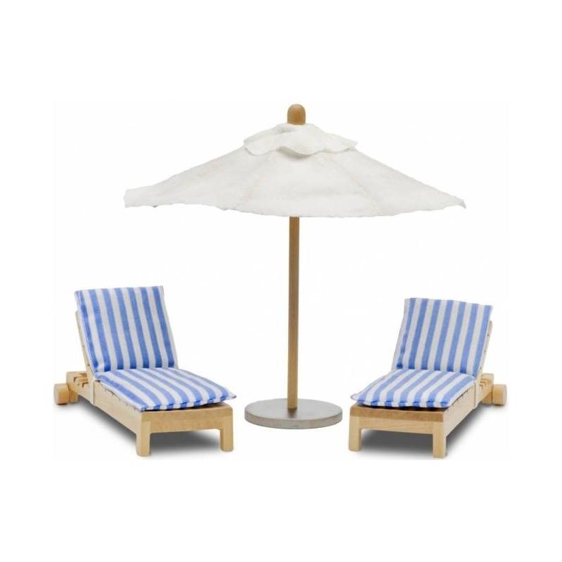Набор кукольной мебели Шезлонги с зонтиком