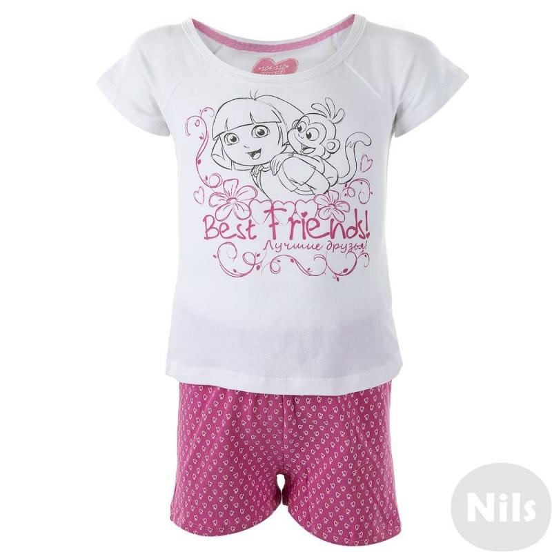 ПижамаПижама бело-розового цвета марки Button Blue для девочек. Пижама с изображением известной и всеми любимой героини детского сериала Даши-Путешественницы. Пижама состоит из белой футболки с принтом и розовых шортиков с сердечками. Пижама выполнена из хлопка с добавлением эластана.<br><br>Размер: 4 года<br>Цвет: Розовый<br>Рост: 98-104<br>Пол: Для девочки<br>Артикул: 615388<br>Страна производитель: Китай<br>Сезон: Всесезонный<br>Состав: 95% Хлопок, 5% Эластан<br>Бренд: Россия