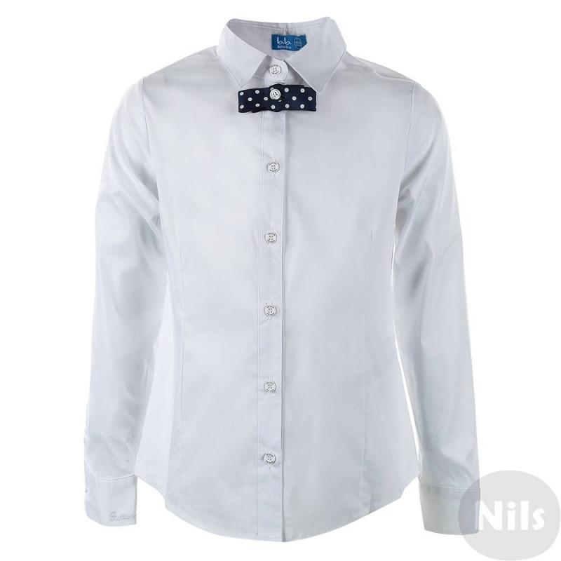 Блузка - Button BlueМодная блузкабелого цвета марки Button Blue для девочек. Классическая блузка станет отличным дополнением к любому школьному наряду. Синий бантик в горошек на воротнике придает оригинальность блузке, отстегивается. Манжеты регулируются по ширине.<br>Размер указан как: Рост/Обхват груди/Обхват талии<br><br>Размер: 12 лет<br>Цвет: Белый<br>Размер: 152/76/66<br>Пол: Для девочки<br>Артикул: 615274<br>Страна производитель: Китай<br>Сезон: Всесезонный<br>Состав: 62% Хлопок, 35% Нейлон, 3% Эластан<br>Бренд: Россия<br>Воротник: Классический<br>Рукава: Длинные, манжеты<br>Покрой: Прямой