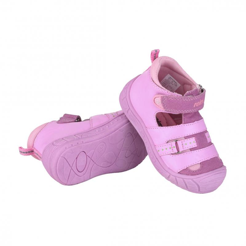 СандалииСандалии розовогоцвета марки Reima для девочек. Закрытые сандалии с вырезами и вставками из дышащей сеточки выполнены из комбинации натуральной и искусственной кожи. Подкладка выполнена из гладкогои приятного на ощупь текстиля. Прочная подошва из термопластичной резины предотвращает скольжение. Сандалии застегиваются на регулируемую липучку.<br><br>Размер: 27<br>Цвет: Розовый<br>Пол: Для девочки<br>Артикул: 615458<br>Страна производитель: Китай<br>Сезон: Весна/Лето<br>Материал верха: Нат. кожа / Иск. кожа<br>Материал подкладки: Текстиль<br>Материал стельки: Текстиль<br>Материал подошвы: ТПР (термопластичная резина)<br>Бренд: Финляндия