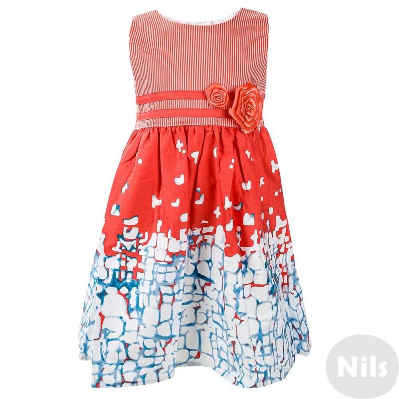 ПлатьеПлатье кораллового цвета марки Anco для девочек. Платье выполнено из чистого хлопка, линия талии завышена, пояс декорирован розочками из лент в тон платью. Полосатый топимеет хлопковую подкладку, под юбкой подклада нет. Застегивается платье сзади на потайную молнию, пояс затягивается бантом.<br><br>Размер: 3 года<br>Цвет: Коралловый<br>Рост: 98<br>Пол: Для девочки<br>Артикул: 615032<br>Страна производитель: Китай<br>Сезон: Весна/Лето<br>Состав верха: 100% Хлопок<br>Состав подкладки: 100% Хлопок<br>Бренд: Россия<br>Вид застежки: Молния