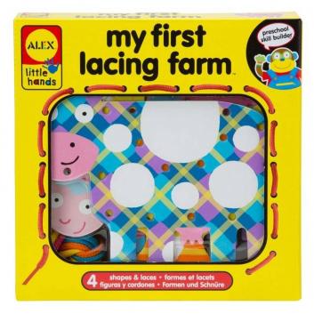 Игрушки, Игрушка-шнуровка Веселая ферма ALEX 616126, фото
