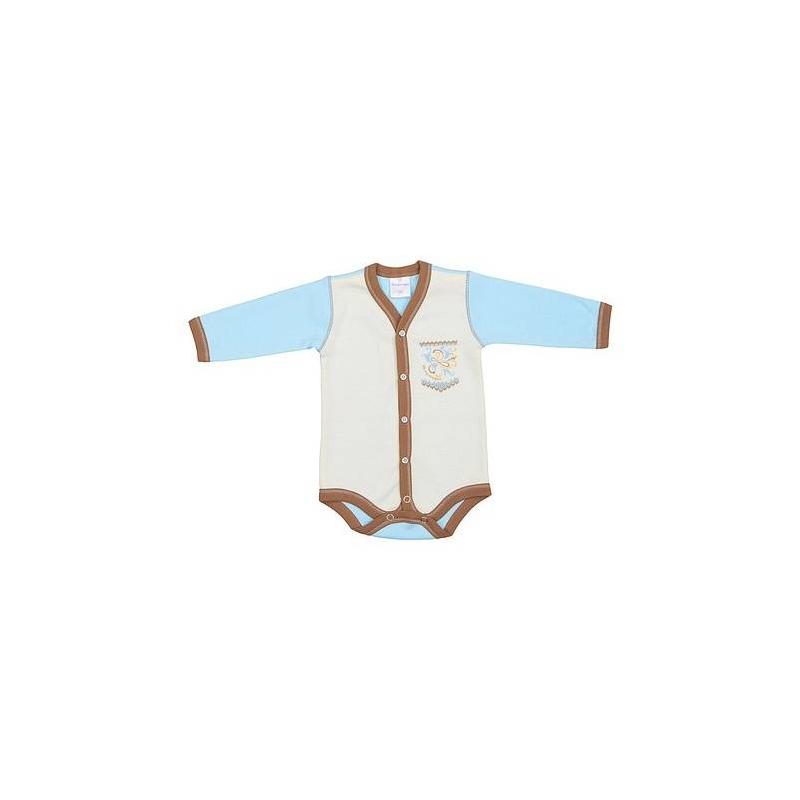 БодиБоди голубого цвета от бренда Мамуляндия для мальчиков. Боди с длинным рукавом выполнено из стопроцентного хлопка, мягкого на ощупь и приятного к телу. Спереди боди белого цвета с небольшим принтом, сзади голубого цвета. Застегивается боди на кнопки, стилизованные под пуговицы.<br><br>Размер: 9 месяцев<br>Цвет: Голубой<br>Рост: 74<br>Пол: Для мальчика<br>Артикул: 617042<br>Страна производитель: Россия<br>Сезон: Всесезонный<br>Состав: 100% Хлопок<br>Бренд: Россия<br>Вид застежки: Кнопки