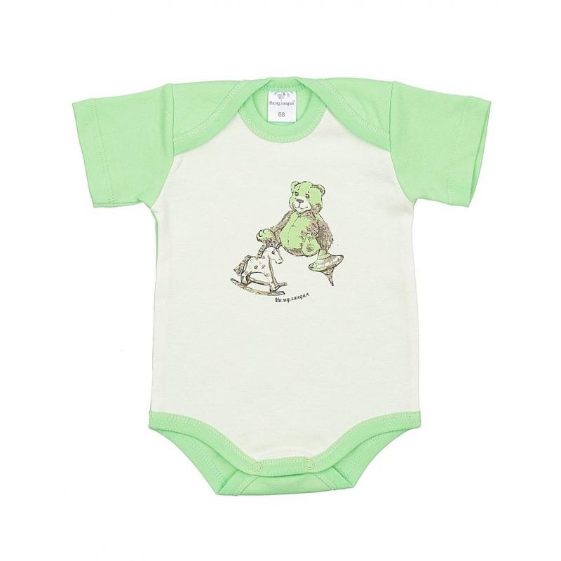 БодиБоди салатового цвета марки Мамуляндия для малышей.Боди с коротким рукавом выполнено из стопроцентного хлопка, украшено рисунком с изображением плюшевого медвежонка и лошадки-качалки.Особыйкрой плечиков облегчает процесс переодевания малыша. Боди застегивается на две кнопки снизу.<br><br>Размер: 12 месяцев<br>Цвет: Салатовый<br>Рост: 80<br>Пол: Не указан<br>Артикул: 616940<br>Страна производитель: Россия<br>Сезон: Всесезонный<br>Состав: 100% Хлопок<br>Бренд: Россия<br>Вид застежки: Кнопки