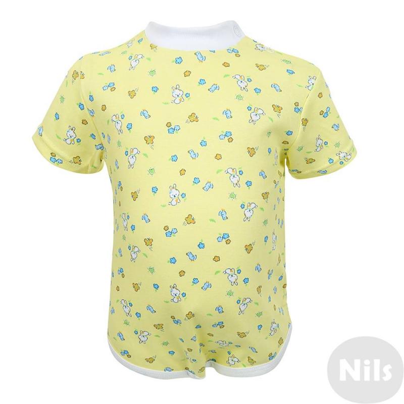 БодиБоди желтого цвета марки Фрешстайл для девочек.Боди с коротким рукавом выполнено из стопроцентного мягкого хлопкового трикотажа и украшено милымпринтом с зайчиками и цветочками. Боди застегивается на кнопки снизу и на две кнопки на плечах.<br><br>Размер: 12 месяцев<br>Цвет: Желтый<br>Рост: 80<br>Пол: Для девочки<br>Артикул: 616554<br>Страна производитель: Россия<br>Сезон: Всесезонный<br>Состав: 100% Хлопок<br>Бренд: Россия<br>Вид застежки: Кнопки
