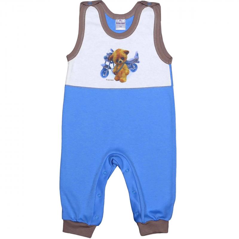 ПолукомбинезонПолукомбинезон голубого цвета марки Мамуляндия для мальчиков.Полукомбинезон без рукавов с закрытыми ножками выполнен из мягкого хлопкового трикотажа, имеет удобную кнопочную застежку на плечиках и по шаговому шву. Украшен изображением милого медвежонка с мотоциклом.<br><br>Размер: 18 месяцев<br>Цвет: Голубой<br>Рост: 86<br>Пол: Для мальчика<br>Артикул: 616875<br>Страна производитель: Россия<br>Сезон: Всесезонный<br>Состав: 100% Хлопок<br>Бренд: Россия<br>Вид застежки: Кнопки