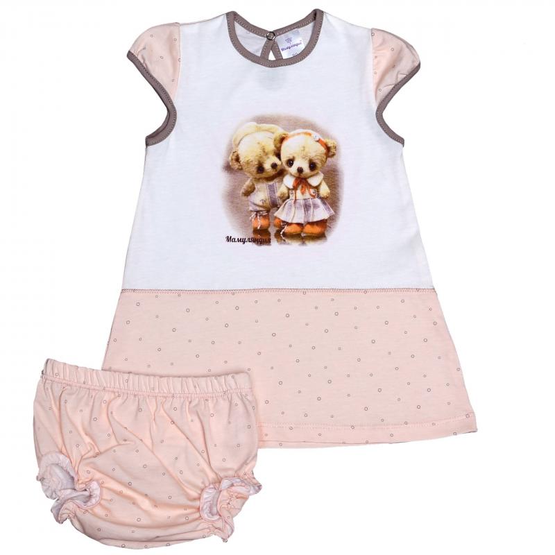 КомплектКомплект платье + шортикирозового цвета марки Мамуляндия для девочек. Платье с коротким рукавом выполнено из мягкого хлопкового трикотажа, украшено милым принтом с медвежатами. Застегивается платье на кнопочку на спинке. Шортики-трусики на резиночках, хорошо держатся, не давят.<br><br>Размер: 2 года<br>Цвет: Розовый<br>Рост: 92<br>Пол: Для девочки<br>Артикул: 616749<br>Бренд: Россия<br>Страна производитель: Россия<br>Сезон: Всесезонный<br>Состав: 100% Хлопок<br>Вид застежки: Кнопки