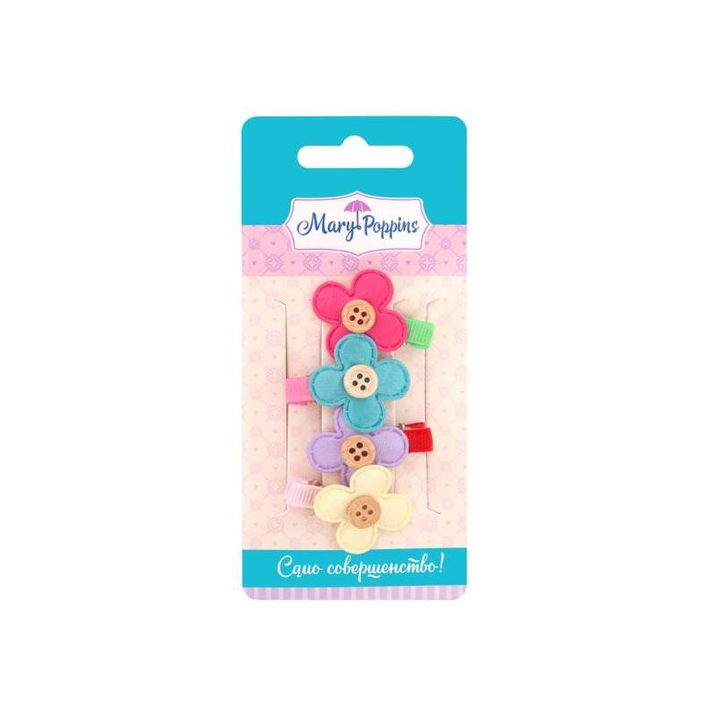 Комплект мини-зажимов для волос Цветочек 4 шт
