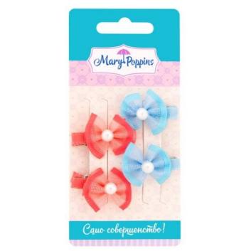 Аксессуары, Комплект зажимов для волос Жемчужинка 4 шт Mary Poppins (голубой)116903, фото