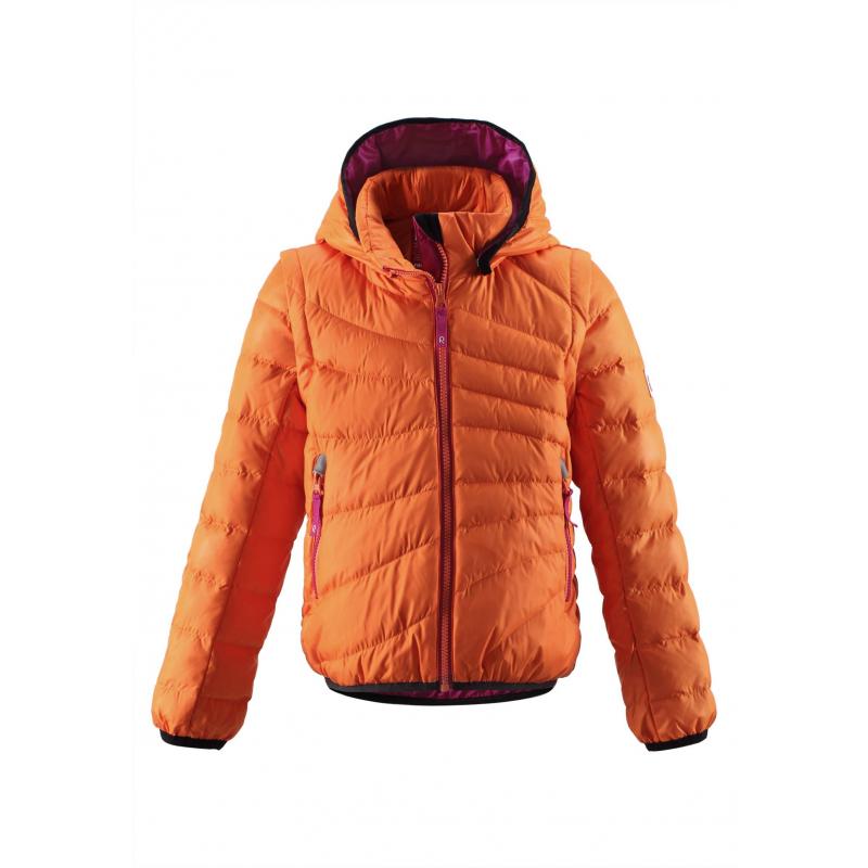 Куртка-жилетКуртка-жилет оранжевого цвета маркиREIMA для девочек выполнена из ветронепроницаемого и дышащего материала с водо- и грязеотталкивающим покрытием. Наполнитель пух/перо. Рукава можно отстегнуть - и куртка превратится в теплую жилетку.<br>Съемный капюшон на кнопках защитит от холодного ветра. Капюшон, низ и манжеты отделаны эластичным кантом. Куртка имеет два кармана на молнии, а также светоотражающие элементы для безопасности ребенка.<br>Пуховик не теряет своих свойств при многократнойстирке в стиральной машине, быстро сохнет. Легкие загрязнения можнопротереть влажной губкой или смытьпод душем.<br><br>Размер: 8 лет<br>Цвет: Оранжевый<br>Рост: 128<br>Пол: Для девочки<br>Артикул: 616435<br>Страна производитель: Китай<br>Сезон: Осень/Зима<br>Состав верха: 100% Полиэстер<br>Состав подкладки: 100% Полиэстер<br>Бренд: Финляндия<br>Наполнитель: 60% Пух, 40% Перо<br>Температура: от 0° до -20°