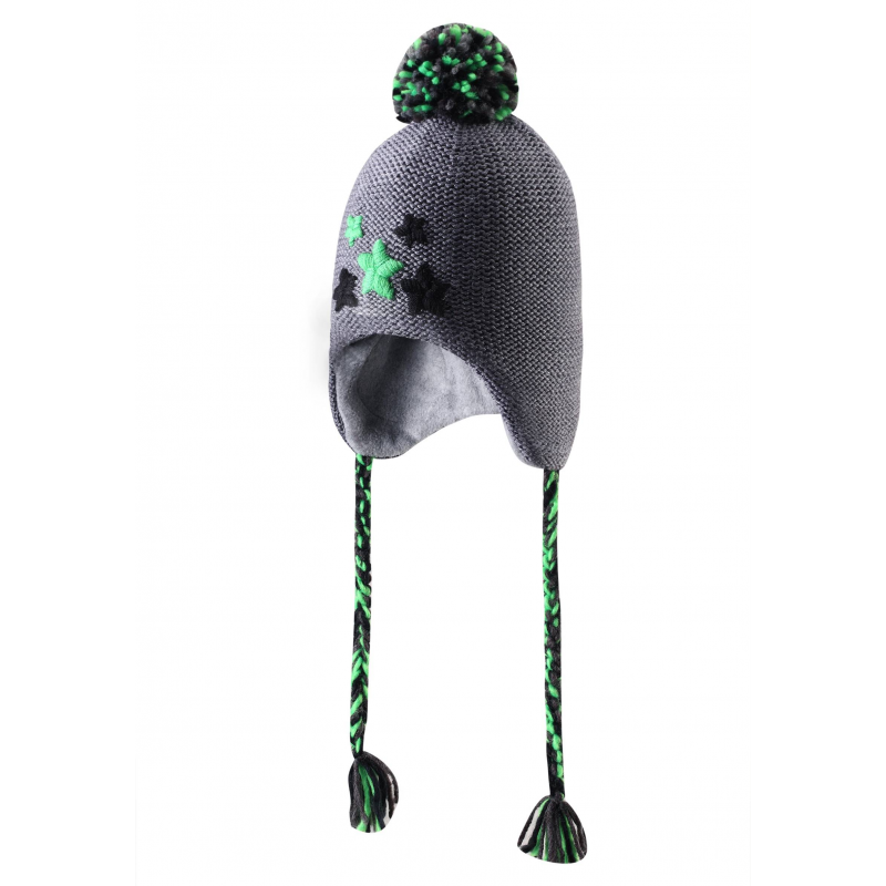 ШапкаТеплаяшапка серогоцвета марки REIMA для мальчиков.<br>Стильная зимняя шапка из смеси шерсти иакрила имеет декоративную вышивку спереди и забавный помпон на макушке. Шапка дополнена мягкой флисовой подкладкой.В области ушей есть специальныевставки для защиты от ветра.Шапка украшена красивыми плетеными завязками.<br>Рекомендации по уходу: стирать отдельно, вывернув наизнанку. Придать первоначальную форму вo влажном виде. Сушить при низкой температуре. Возможна усадка 5 %.<br><br>Цвет: Серый<br>Размер шапки: 50<br>Пол: Для мальчика<br>Артикул: 616250<br>Бренд: Финляндия<br>Страна производитель: Китай<br>Сезон: Осень/Зима<br>Состав: 50% Шерсть, 50% Акрил<br>Состав подкладки: 100% Полиэстер<br>Размер: Без размера