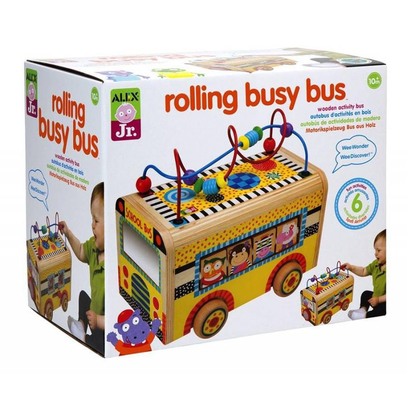 Деревянный центр Веселый автобусРазвивающий деревянный центр Веселый автобус от бренда Alex - это увлекательная игра для самых маленьких! Веселый автобус- это множество ярких элементов, выполненных из экологически чистого материала - дерева. На крыше автобуса расположены спирали с нанизанными колечками и бусинами, перемещаякоторые автобус будет двигаться на колесиках. А в окошках автобусасидят сказочные зверушки-пассажиры, которых можно менять, благодаря подвижным элементам.<br>Игра непременно понравится вашему малышу и подарит ему массу удовольствия! Кроме того, с помощью подобных игр развивается творческое и логическое мышление, мелкая моторика рук.<br>Размеры: 28х18х24 см.<br><br>Возраст от: 10 месяцев<br>Пол: Не указан<br>Артикул: 617589<br>Бренд: США<br>Размер: от 10 месяцев<br>Материал: Дерево
