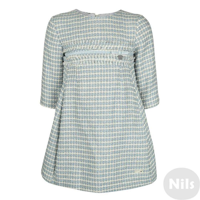 ПлатьеЭлегантное платье голубого цвета марки MAYORAL для девочек. Платье с длинным рукавом выполнено из твидового плотного материала с добавлением шерсти и блестящих нитей, имеет завышенную линию талии, украшенную бархатной узкой лентой и подвеской в виде сердечка со стразами. Платье имеет хлопковую белую подкладку, застегивается на молнию на спине.<br><br>Размер: 4 года<br>Цвет: Голубой<br>Рост: 104<br>Пол: Для девочки<br>Артикул: 617554<br>Страна производитель: Марокко<br>Сезон: Осень/Зима<br>Состав: 66% Акрил, 16% Шерсть, 9% Полиэстер, 6% Полиамид, 3% Люрекс<br>Бренд: Испания<br>Вид застежки: Молния<br>Рукава: Длинные, без манжет