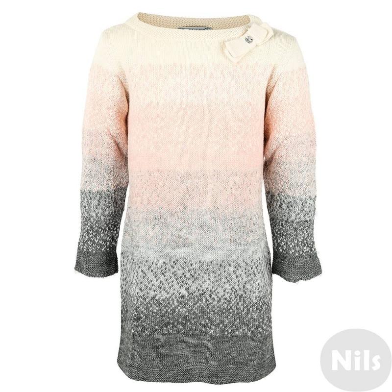 ПлатьеПлатье серо-розового цвета марки MAYORAL для девочек. Платье с длинным рукавом выполнено из шерсти и акрила с добавлением шерсти альпака. Плотная вязка дополнена вкраплениями блестящей серебряной нити. Круглый воротник украшен вязаным бантиком с блестящей пуговицей.<br><br>Размер: 4 года<br>Цвет: Серый<br>Рост: 104<br>Пол: Для девочки<br>Артикул: 618153<br>Страна производитель: Испания<br>Сезон: Осень/Зима<br>Состав: 80% Акрил, 10% Шерсть, 5% Альпака, 5% Вискоза<br>Бренд: Испания