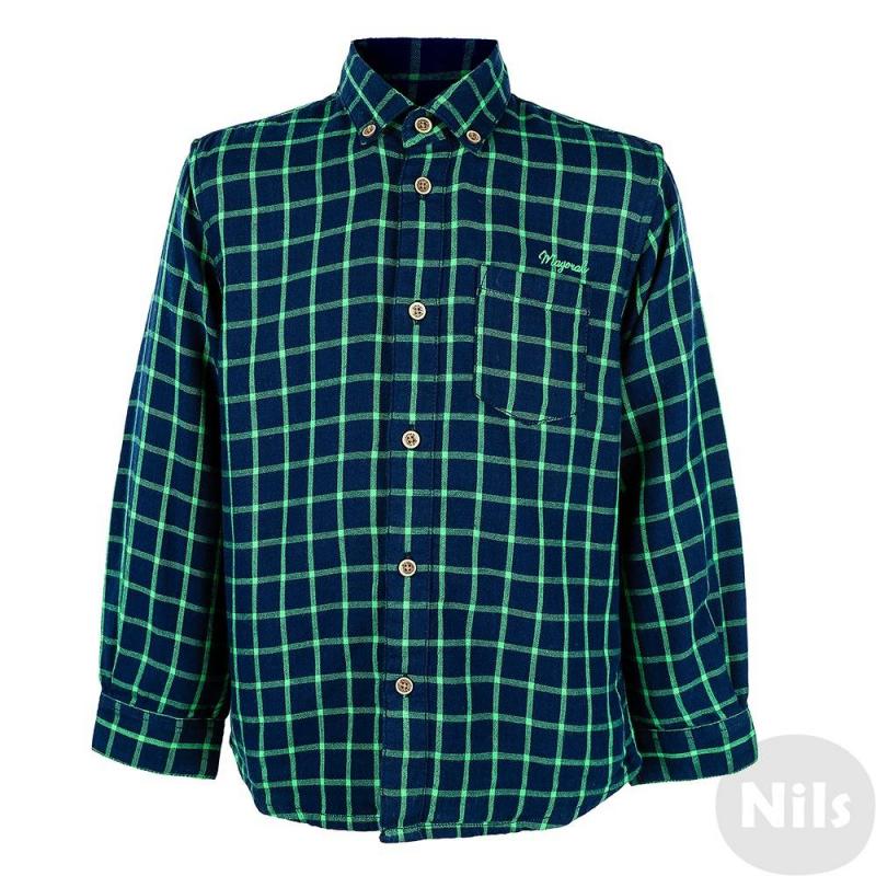 РубашкаРубашка темно-синего цвета марки MAYORAL для мальчиков. Рубашка с длинным рукавом выполнена из стопроцентного хлопка, имеет рисунок в зеленую клетку. Воротник классический, пристегивается на пуговицы. Застегивается рубашка также на пуговицы. Спереди рубашка имеет небольшой карман на груди.<br><br>Размер: 3 года<br>Цвет: Темносиний<br>Рост: 98<br>Пол: Для мальчика<br>Артикул: 617984<br>Страна производитель: Индия<br>Сезон: Осень/Зима<br>Состав: 100% Хлопок<br>Бренд: Испания