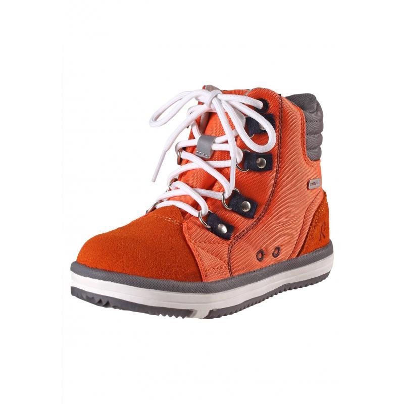 БотинкиДемисезонные ботинки оранжевого цвета марки REIMA серии REIMA TEC. Полностью водонепроницаемые ботинки подходят для дождливой погоды. Верх выполнен из прочного текстиля и натуральной замши, все швы проклеены. Подкладка сшита из дышащей mesh-сетки с герметизированнымишвами. Подошва из термопластичной резины гарантирует хорошее сцепление с поверхностью, не скользит. Рисунок на подошве позволяет быстро определитьразмер, просто приложив ножку ребенка к подошве.<br>Съемные стельки с рисунком Happy Fit помогают подобратьправильный размер обуви. Светоотражающие детали отвечают всем нормам безопасности. К ботинкам прилагаются две пары шнурков: классические и эластичные для быстрого и легкого переобувания.<br><br>Размер: 24<br>Цвет: Оранжевый<br>Пол: Не указан<br>Артикул: 618545<br>Страна производитель: Китай<br>Сезон: Всесезонный<br>Материал верха: Текстиль / Нат. кожа<br>Материал подкладки: Текстиль<br>Материал стельки: Текстиль<br>Материал подошвы: ТПР (термопластичная резина)<br>Бренд: Финляндия