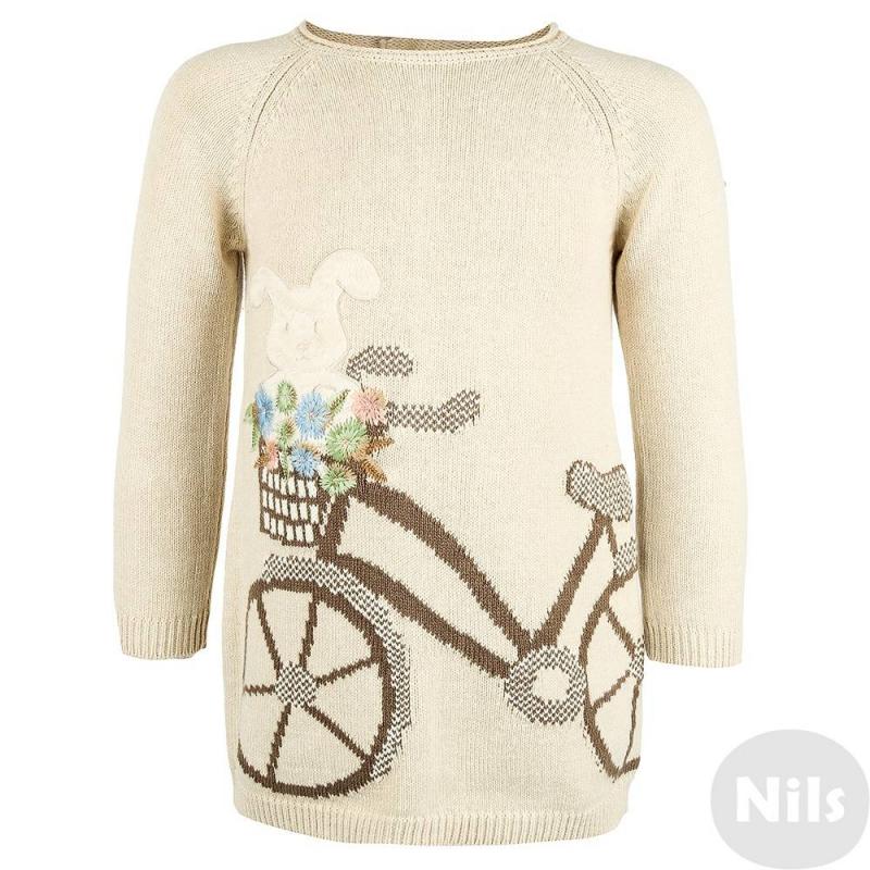 ПлатьеПлатье бежевого цвета марки MAYORAL для девочек. Вязаное платье с длинным рукавом выполнено из смешанного трикотажа (хлопок + акрил), украшено объемным изображением зайчика на велосипеде. Застегивается платье на две пуговицы на спине.<br><br>Размер: 9 месяцев<br>Цвет: Бежевый<br>Рост: 74<br>Пол: Для девочки<br>Артикул: 617840<br>Бренд: Испания<br>Страна производитель: Китай<br>Сезон: Осень/Зима<br>Состав: 60% Хлопок, 40% Акрил<br>Вид застежки: Пуговицы