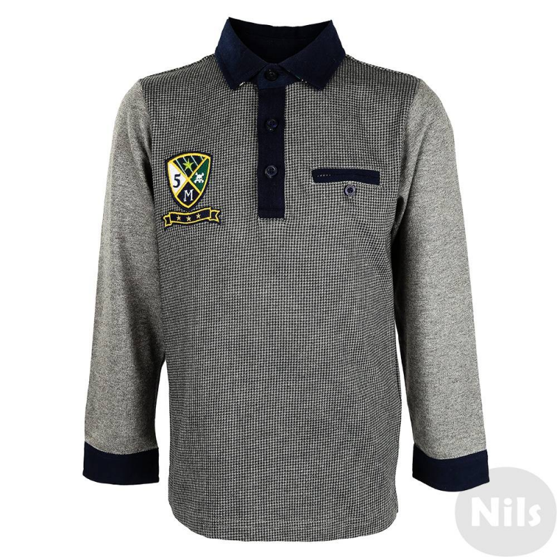 Рубашка-полоРубашка-поло темно-серого цвета марки MAYORAL для мальчиков. Рубашка с длинным рукавом выполнена из стопроцентного хлопка, имеет классический воротник, застегивается на три пуговицы. Спереди рубашка украшена вышивкой.<br><br>Размер: 5 лет<br>Цвет: Темносерый<br>Рост: 110<br>Пол: Для мальчика<br>Артикул: 617972<br>Страна производитель: Индия<br>Сезон: Осень/Зима<br>Состав: 100% Хлопок<br>Бренд: Испания<br>Вид застежки: Пуговицы<br>Рукава: Длинные, манжеты