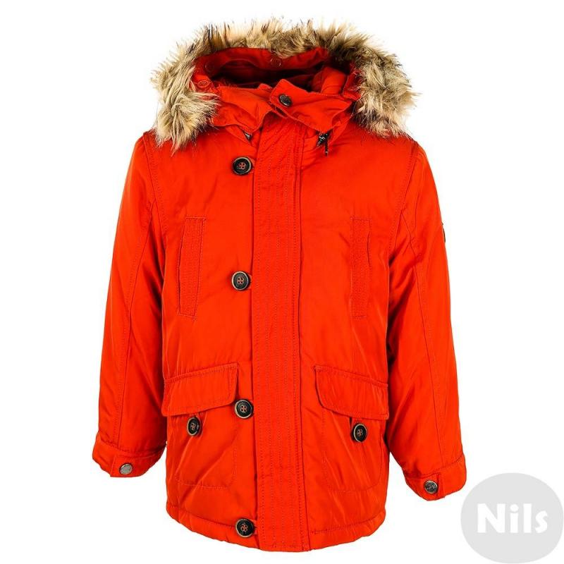 Куртка - MAYORALКуртка оранжевого цвета марки MAYORAL для мальчиков. Демисезонная куртка с легким утеплением имеет съемный капюшон на молнии, украшенный искусственным мехом, который также отстегивается отдельно. Куртка имеет два нагрудных кармана, два накладных кармана на пуговице. Застегивается куртка на молнию и декоративные пуговицы. Рукава дополнены трикотажными манжетами и застегиваются на кнопку. Внутри куртка имеет мягкую стеганую трикотажную подкладку с утеплителем.<br><br>Размер: 8 лет<br>Цвет: Оранжевый<br>Рост: 128<br>Пол: Для мальчика<br>Артикул: 618066<br>Страна производитель: Китай<br>Сезон: Осень/Зима<br>Состав: 100% Полиэстер<br>Бренд: Испания<br>Наполнитель: 100% Полиэстер