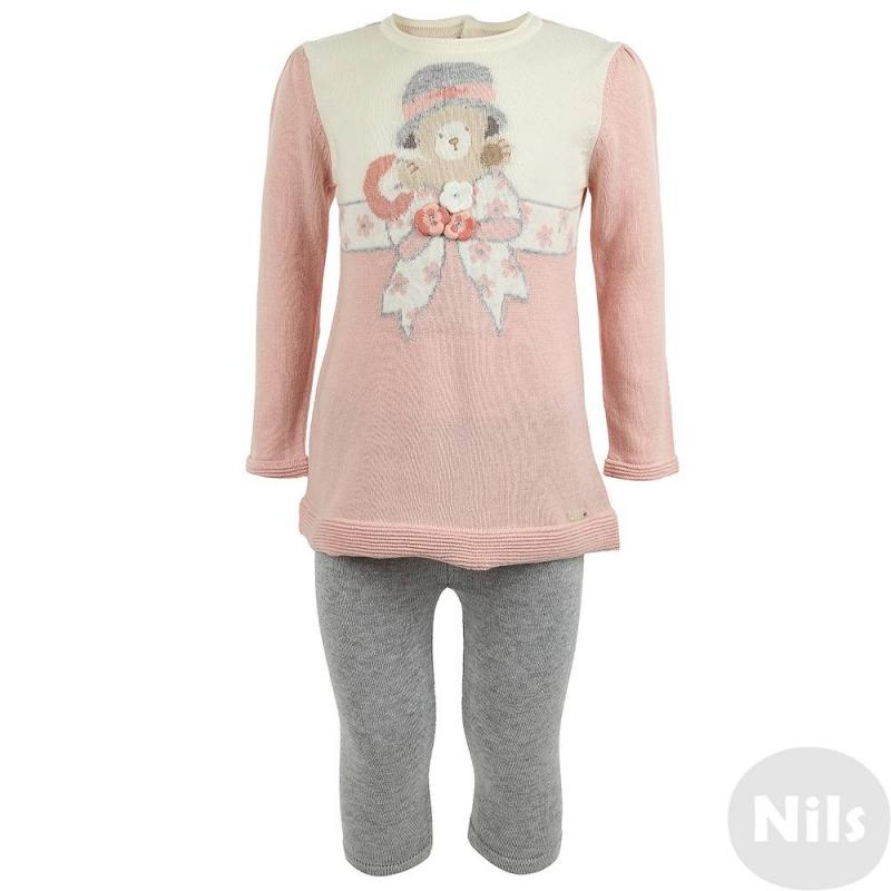 КомплектКомплект леггинсы + платье розового цвета марки Mayoral для девочек. Трикотажный комплект выполнен из смеси хлопка и акрила. Платье с длинным рукавом украшено вязаным рисунком с медвежонком, а также объемными цветами, застегивается на пуговицы на спинке. Однотонные серые леггинсы имеют удобный пояс на резинке.<br><br>Размер: 9 месяцев<br>Цвет: Розовый<br>Рост: 74<br>Пол: Для девочки<br>Артикул: 619081<br>Страна производитель: Китай<br>Сезон: Осень/Зима<br>Состав: 60% Хлопок, 40% Акрил<br>Бренд: Испания<br>Вид застежки: Пуговицы