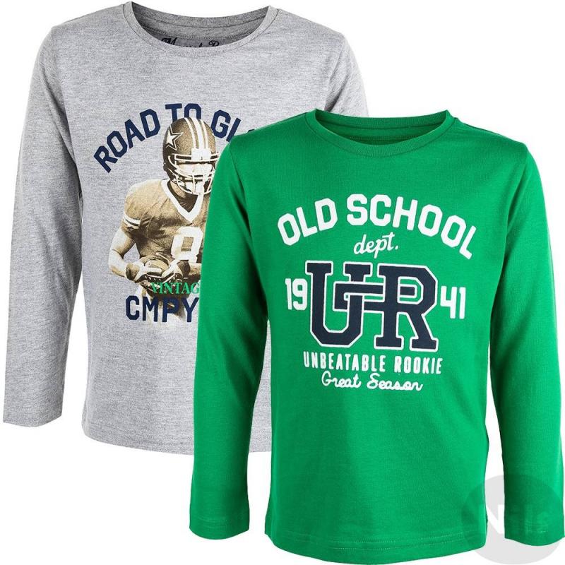 Комплект футболок 2 штКомплект из двух футболок с длинным рукавом марки Mayoral для мальчиков. Комплект состоит из двух футболок разных цветов: одна футболка серая, другая ярко-зеленая. Серая футболка выполнена из мягкого хлопкового трикотажа, украшена принтом. Ярко-зеленая футболка выполнена из стопроцентного хлопка, украшена объемными надписями.<br><br>Размер: 7 лет<br>Цвет: Зеленый<br>Рост: 122<br>Пол: Для мальчика<br>Артикул: 619251<br>Страна производитель: Индия<br>Сезон: Осень/Зима<br>Состав: 100% Хлопок<br>Бренд: Испания