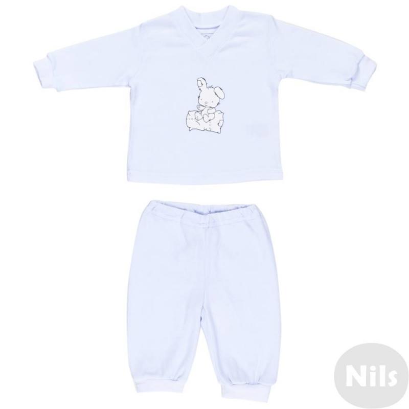 КомплектКомплект футболка + брючки белого цвета маркиNice-Kid для малышей. Комплект выполнен из стопроцентного мягкого хлопка. Футболка с длинным рукавом украшена принтом с изображением зайчика. Брючки с поясом на удобной эластичной резинке.<br><br>Размер: 2 года<br>Цвет: Белый<br>Рост: 92<br>Пол: Не указан<br>Артикул: 618887<br>Страна производитель: Россия<br>Сезон: Всесезонный<br>Состав: 100% Хлопок<br>Бренд: Россия
