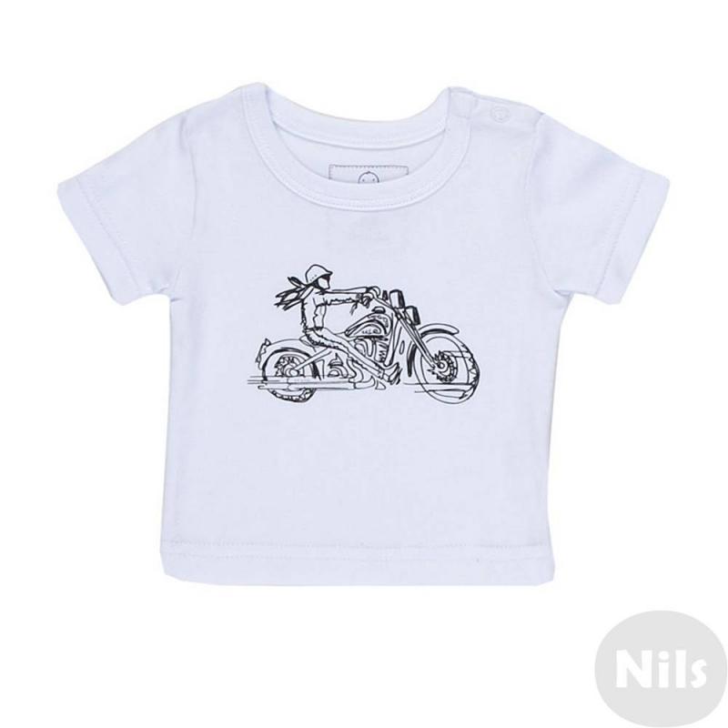 ФутболкаФутболка белого цвета маркиNice-Kid для мальчиков. Футболка с коротким рукавом выполнена из стопроцентного хлопка, украшена принтом с изображением мотоциклиста. Футболка имеет кнопочную застежку на плече для удобства переодевания малыша.<br><br>Размер: 6 месяцев<br>Цвет: Белый<br>Рост: 68<br>Пол: Для мальчика<br>Артикул: 618986<br>Страна производитель: Россия<br>Сезон: Всесезонный<br>Состав: 100% Хлопок<br>Бренд: Россия