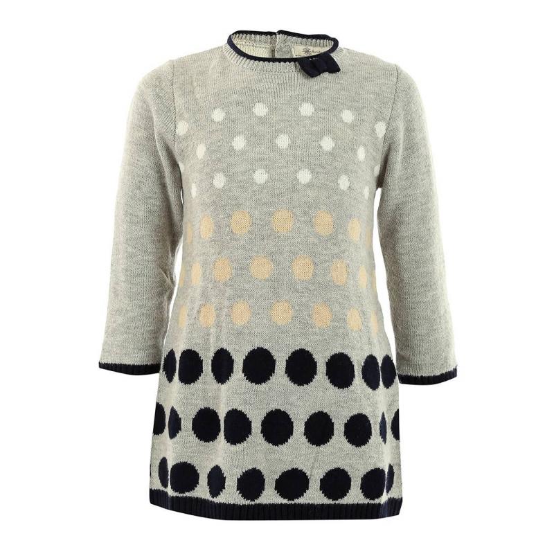 ПлатьеТеплое платье серого цвета марки MAYORAL для девочек. Платье из плотного мягкого трикотажа (хлопок+акрил) с длинным рукавом и с узором в крупный горошек. Украшено очаровательным синим бантиком. Застегивается на две пуговицы на спине.<br><br>Размер: 18 месяцев<br>Цвет: Серый<br>Рост: 86<br>Пол: Для девочки<br>Артикул: 601301<br>Бренд: Испания<br>Страна производитель: Китай<br>Сезон: Осень/Зима<br>Состав: 60% Хлопок, 40% Акрил<br>Вид застежки: Пуговицы<br>Рукава: Длинные, без манжет