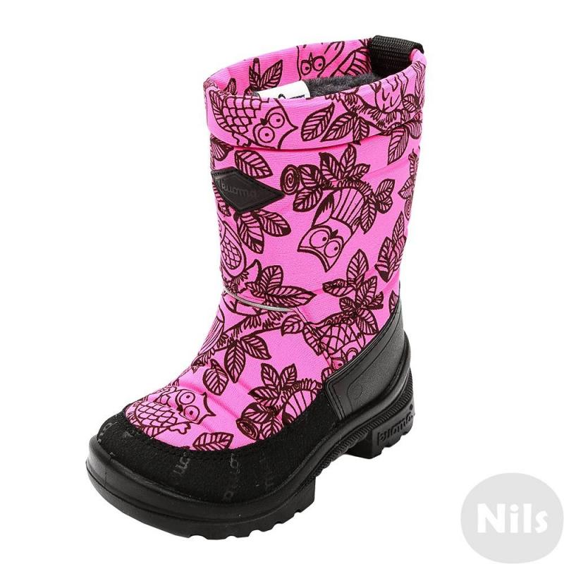СапогиТеплые зимние сапоги ярко-розовогоцвета финской марки Kuoma для девочек. Водонепроницаемые сапоги выполнены из прочного текстиля с водо- и грязеотталкивающей обработкой, отделаны натуральной кожей с влагостойкой пропиткой. Теплая и долговечная подкладка выполнена из искусственного меха, стельки съемные.<br>Под слоем поверхностной ткани находится теплоизолирующий слой, который благодаря своей конструкции с закрытыми порами совершенно не впитывает влагу (обувь быстро сохнет).<br>Прочная, надежная, гибкая, теплоизолирующая подошва из полиуретана отливается непосредственно на верх обуви и поэтому держится лучше, чем приклеенная подошва. Подошва обеспечивает амортизацию, снижает нагрузку на ноги, обеспечивает отличное сцепление с поверхностью.<br>Светоотражающие элементы обеспечивают безопасность ребенка в темное время суток.<br><br>Размер: 31<br>Цвет: Розовый<br>Пол: Для девочки<br>Артикул: 619393<br>Страна производитель: Финляндия<br>Сезон: Осень/Зима<br>Материал верха: Текстиль / Нат. кожа<br>Материал подкладки: Текстиль<br>Материал стельки: Текстиль<br>Материал подошвы: Полиуретан<br>Бренд: Финляндия<br>Температура: до -30°