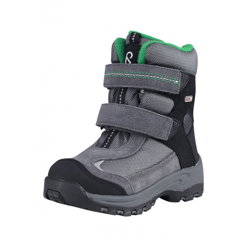 БотинкиЗимние высокие ботинки серо-зеленогоцвета марки REIMA серииREIMA TECдля мальчиков. Водонепроницаемые ботинки с удобными ремешками на липучках рассчитаны на температуру до -30°. Верх выполнен из натуральной кожи и прочного текстиля, носок и пятка усилены износостойкими резиновыми вставками. Подкладка сшита из мягкого текстильного меха и байки. Прочная и гибкая каучуковая подошва не скользит. Съемные стельки с рисунком Happy Fit помогают подобрать правильный размер.<br><br>Размер: 26<br>Цвет: Серый<br>Пол: Для мальчика<br>Артикул: 619766<br>Страна производитель: Китай<br>Сезон: Осень/Зима<br>Материал верха: Полиэстер, Полиуретан, Натуральная кожа<br>Материал подкладки: Текстиль<br>Материал стельки: Текстиль<br>Материал подошвы: ТПР (термопластичная резина)<br>Бренд: Финляндия<br>Температура: от -10° до -30°