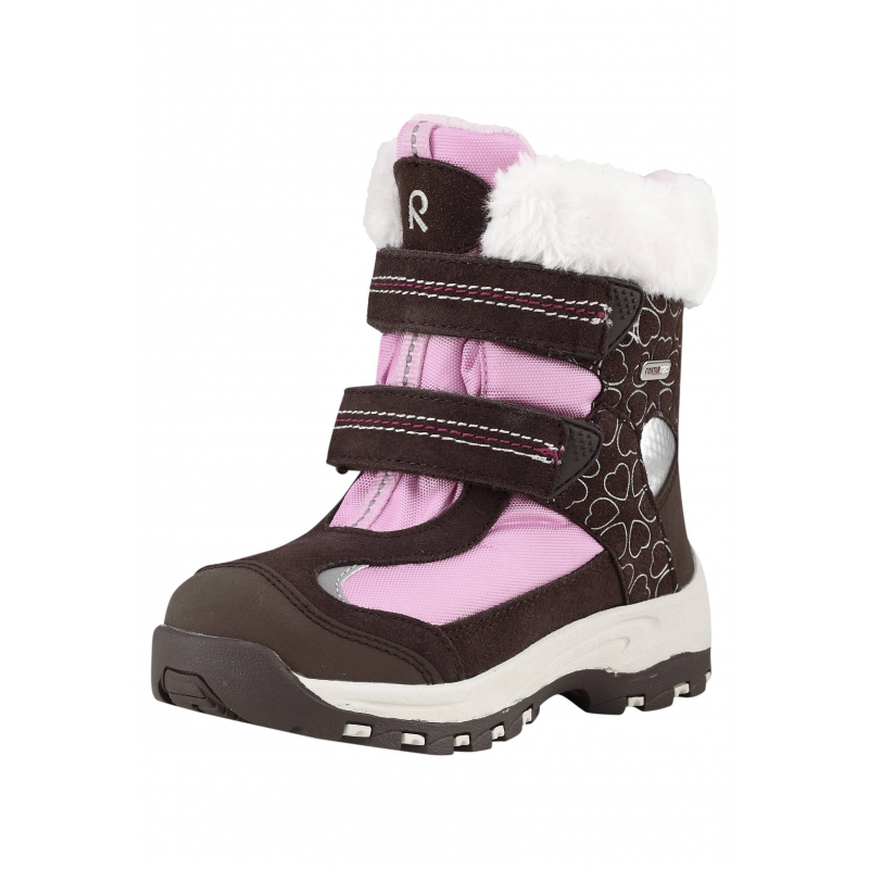 БотинкиЗимние высокие ботинки коричнево-розовогоцвета марки REIMA серииREIMA TECдлядевочек. Водонепроницаемые ботинки с удобными ремешками на липучках рассчитаны на температуру до -30°. Верх выполнен из натуральной кожи и прочного текстиля, носок и пятка усилены износостойкими резиновыми вставками. Дизайн для девочек, с принтом с сердечками и отделкой из искусственного меха. Подкладка сшита из мягкого текстильного меха и байки. Прочная и гибкая каучуковая подошва не скользит. Съемные стельки с рисунком Happy Fit помогают подобрать правильный размер.<br><br>Размер: 26<br>Цвет: Коричневый<br>Пол: Для девочки<br>Артикул: 619742<br>Страна производитель: Китай<br>Сезон: Осень/Зима<br>Материал верха: Полиэстер, Полиуретан, Натуральная кожа<br>Материал подкладки: Текстиль<br>Материал стельки: Текстиль<br>Материал подошвы: ТПР (термопластичная резина)<br>Бренд: Финляндия<br>Температура: от -10° до -30°