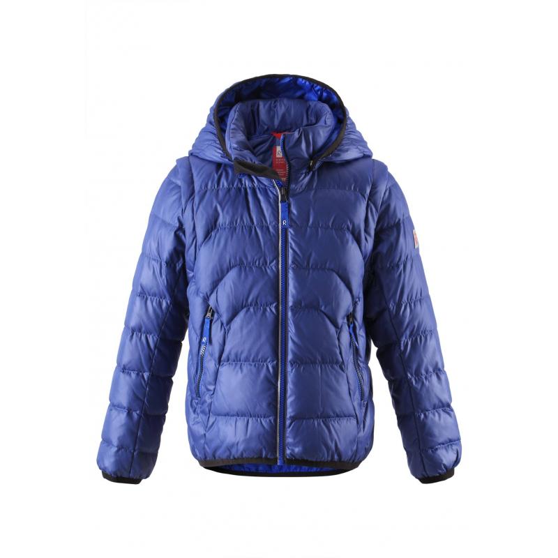 Куртка-жилетКуртка-жилетсинегоцвета маркиREIMA длямальчиковвыполнена из ветронепроницаемого и дышащего материала с водо- и грязеотталкивающим покрытием. Наполнитель пух/перо. Рукава на молнии можно отстегнуть - и куртка превратится в теплую жилетку.<br>Съемный капюшон на кнопках защитит от холодного ветра. Капюшон, низ и манжеты отделаны эластичным кантом. Куртка имеет два кармана на молнии, а также светоотражающие элементы для безопасности ребенка.<br>Пуховик не теряет своих свойств при многократнойстирке в стиральной машине, быстро сохнет. Легкие загрязнения можнопротереть влажной губкой или смытьпод душем.<br><br>Размер: 8 лет<br>Цвет: Синий<br>Рост: 128<br>Пол: Для мальчика<br>Артикул: 619617<br>Страна производитель: Китай<br>Сезон: Осень/Зима<br>Состав верха: 100% Полиэстер<br>Состав подкладки: 100% Полиэстер<br>Бренд: Финляндия<br>Наполнитель: 60% Пух, 40% Перо<br>Температура: от 0° до -20°