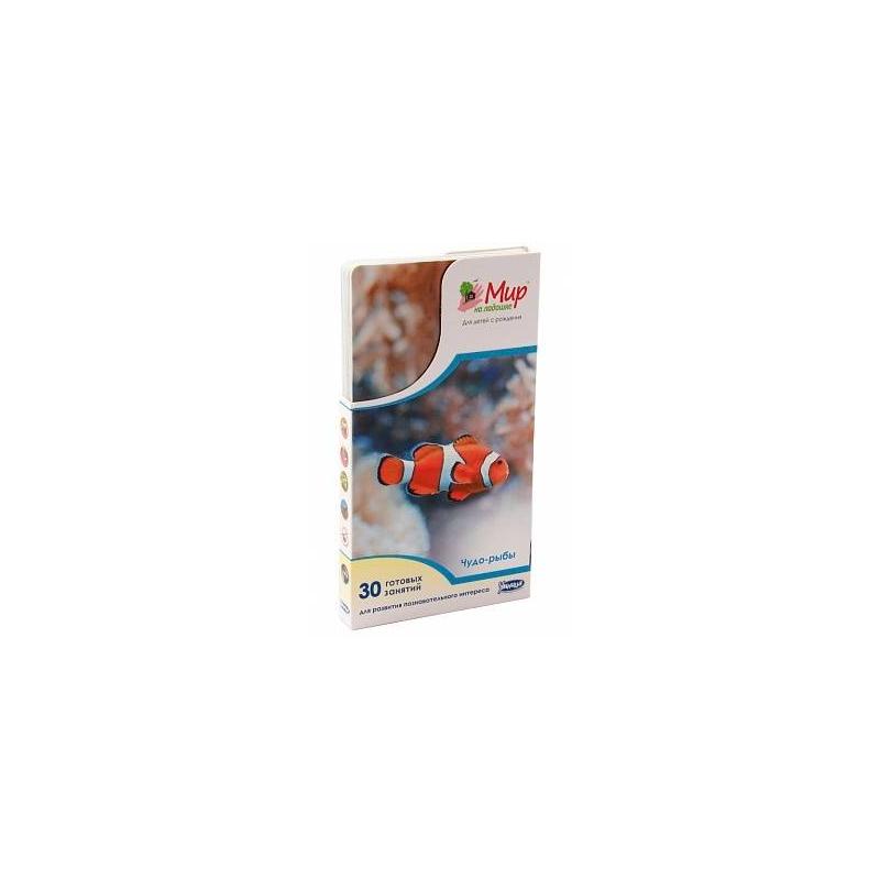 Мир на ладошке Чудо-рыбыНабор карточек Чудо-рыбы из серии Мир на ладошке марки Умница- это уникальная энциклопедия в фотографиях, котораяподходит для малышейс рождения.Вашего ребенкапорадуют 24яркие фотографии, на обороте каждой из которых можно найти интереснуюинформацию о загадочных подводных обитателях, а также вас ждут весёлые загадки, игры и творческие задания.<br>Играя с карточками ребенок узнает ответы на такие вопросы, как на каких птиц и зверей похожи чудо-рыбы, какая рыба умеет летать, какая рыба умеет издавать звуки, и почему рыбы маскируются.Совместные игры с этим комплектомулучшают внимание и память малыша, развивают воображениеиэрудицию, расширяют кругозор, обогащают словарный запас.<br>Занятия по «Миру на ладошке» просты и интересны, они не требуют от родителей специальнойподготовки. Набор содержит методическую карточку для родителей с рекомендациями по занятиям. Благодаря удобному компактному размеру заниматься с карточками Мир на ладошке можно как дома, так и на улице, в гостях, в дороге, на даче и даже в очереди!Карточки выполнены из качественных материалов, закругленные края безопасны для детей.<br><br>Возраст от: 0 месяцев<br>Пол: Не указан<br>Артикул: 620002<br>Страна производитель: Россия<br>Бренд: Россия<br>Размер: от 0 месяцев