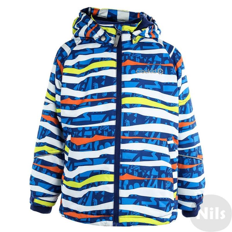 КурткаЗимняя куртка синегоцвета марки Crockid длямальчиковвыполнена из водо- и ветронепроницаемого материала, который дышит и эффективно выводит лишнюю влагу в виде пара. Мембрана 5000 мм. Легкий и комфортный утеплитель нового поколения Fellex прекрасно сохраняет тепло, дышит.<br>Куртка имеет мягкую флисовую подкладку темно-синегоцвета, съемный капюшон на кнопках, два кармана на молнии, удобные трикотажные манжеты, а также множество светоотражающих деталей для безопасности ребенка. Низ куртки регулируется эластичным шнурком со стопперами. Манжеты регулируются липучками.<br><br>Размер: 5 лет<br>Цвет: Синий<br>Рост: 104-110<br>Пол: Для мальчика<br>Артикул: 620033<br>Страна производитель: Китай<br>Сезон: Осень/Зима<br>Состав: 80% Полиэстер, 20% Полиуретан<br>Состав подкладки: 100% Полиэстер<br>Бренд: Россия<br>Наполнитель: 100% Полиэстер<br>Температура: до -20°