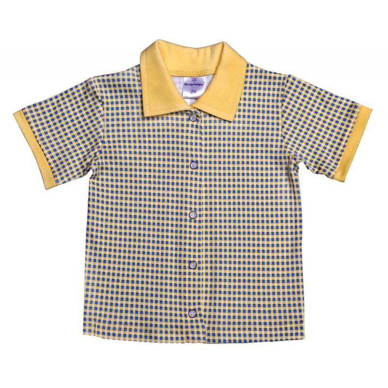 РубашкаРубашкажелто-голубого цвета марки Мамуляндия для мальчиков. Рубашка с коротким рукавом выполнена из хлопкового трикотажа, спереди по всей длинекнопочная застежка. Рубашкабольшемерит на размер.<br><br>Размер: 2 года<br>Цвет: Желтый<br>Рост: 92<br>Пол: Для мальчика<br>Артикул: 620836<br>Бренд: Россия<br>Страна производитель: Россия<br>Сезон: Всесезонный<br>Состав: 100% Хлопок<br>Вид застежки: Кнопки
